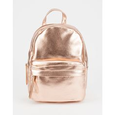 Metallic Mini Backpack (65 PEN) ❤ liked on Polyvore featuring bags, backpacks, backpack, mini backpacks, zipper bag, pink faux leather backpack, faux-leather backpack and vegan backpack
