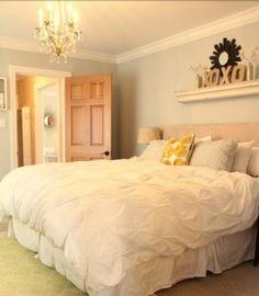 Shelf above bed + lovely accent door