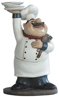 George S. Chen Imports SS-G-65003 Chef Holding Plates Figurine, 10.75' -- A special product just for you. See it now! : Christmas Decorations