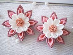 Items similar to Handmade Kanzashi ladies girls hair clips - buy in UK, shipping worldwide on Etsy Diy Ribbon Flowers, Cloth Flowers, Kanzashi Flowers, Ribbon Art, Fabric Ribbon, Ribbon Crafts, Felt Flowers, Flower Crafts, Flowers In Hair