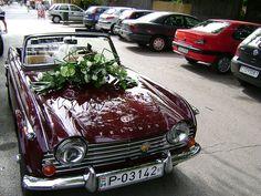 Wedding car - Home Page Triumph Spitfire, Red Wedding, Wedding Cars, Wedding Things, Wedding Transportation, Wedding Scrapbook, Marie, Wedding Decorations, Car Car