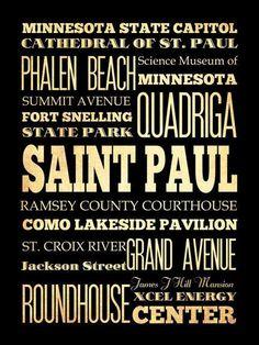 Saint Paul, Minnesota, Typography Art Poster / Bus/ Transit / Subway Roll Art 18X24-Saint Paul's Attractions Wall Art Decoration -  LHA-219