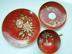 Cup Saucer Plate Trio Red Gold Flowers Pattern by Passion4Europe