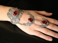 Jewels for Ghouls: Red Swarovski Crystal Slave Bracelet by Le Boudoir Noir. $195.