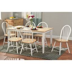 Large Shaker Dining Table in White and Natural | Overstock.com