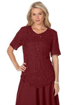 Sequin Beaded Top | Plus Size Separates and Sets | Roamans