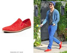 arren Criss leaves Toast Bakery Cafe, Los Angeles, May 9, 2013    Carlo Pazolini Spring 2013 Red Suede Loafers - Price not listed  Worn with: Ray-Ban sunglasses  Also worn in: New York City, May 16, 2013  Toronto, June 12, 2013