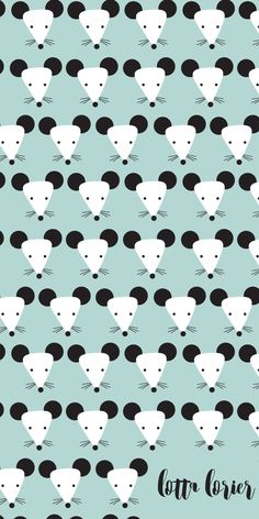 Cute Mouse Pattern   Celadon Black and White   Lotta Lorier   Surface Pattern Design