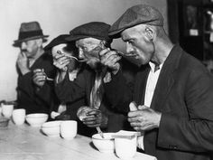 This picture shows men eating a meal of bread and soup during The Great Depression when they could no longer afford to pay for food to feed themselves. I don't believe this source is very credible since it seems to be more of a blog than a news source. This picture shows how people living in The Great Depression learned to appreciate the little things in life that they had taken for granted before.