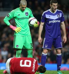 Zlatan Ibrahimovic of Manchester United lies injured during the UEFA Europa League quarter final second leg match between Manchester United and RSC...