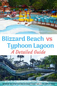 Blizzard Beach or Typhoon Lagoon better for your family? This detailed guide for the two Disney water parks will help you decide! Disney World Water Parks, Walt Disney World Orlando, Walt Disney World Vacations, Disney Trips, Disney Parks, Disney Cruise, Disney Planning, Trip Planning, Florida Travel