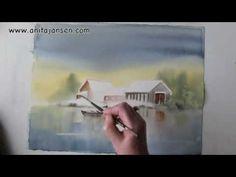 """▶ Watercolor demo - aquarelle """"Lake House"""" - YouTube"""
