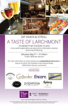 Join us on may 2nd! bit.ly/1d4iqdY  My Sisters' Place, through our partnership with Julia B Fee, is proud to announce A Taste of Larchmont.  Guests will be treated to an array of appetizers and drink selections offered by 7 local restaurants.    Together we are raising awareness around the issues of domestic violence and human trafficking. All proceeds will benefit the critical life-changing programs and services of My Sisters' Place.