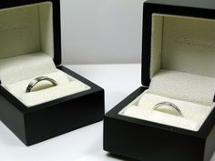 Palladium Twin Groove Wedding Ring and a 10 Stone #Princess Cut Diamond Ring   OrlaJames.com   #Wedding #Ring #Jewellery
