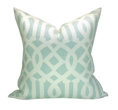This listing is for one Imperial Trellis Mineral pillow cover. DESCRIPTION  Designer: F. Schumacher - Spring 2014 Prints  Colors: Pale mineral blue,