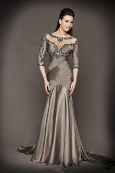 2016 Luxury Chocolate Sheer Scoop Neck Sweep train Long Sleeves Beading Ruched Chiffon Mother of the Bride Dress Formal Gowns Evening Dress Long, Mermaid Evening Dresses, Evening Gowns, Evening Party, Dress Prom, Prom Dresses, Wedding Dresses, Dresses 2016, Lace Wedding
