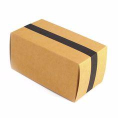 Caja con solapas 16x8x8cm - Kraft línea negra
