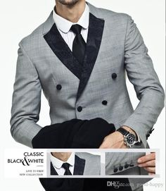 Side Vent Light Grey Suit Groom Tuxedos Slim Fit Double Breasted Groomsmen Men Wedding Holiday Wear Custom MadeJacket+Pants+Tie Prom Suits 2015 Suits For Prom From Good Happy, $62.83| Dhgate.Com