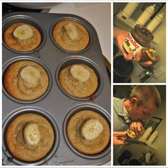 Oatmeal Banana Muffins Ingredients 2.5 cups old fashioned oats  1 cup plain low fat greek yogurt 2 eggs 3/4 cup sugar {or sweetener of choice} 1.5 tsp baking powder 1/2 tsp baking soda 2 ripe bananas