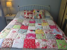 Patchwork Eiderdown style quilt in gorgeous bright colours ~ With Roses