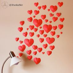 DIY paper heart wall - Valentine's day home decor // Szívecskés Valentin-napi papír fali dekoráció // Mindy - craft tutorial collection // Heart Decorations, Valentines Day Decorations, Valentine Crafts, Room Decorations, Cd Crafts, Heart Crafts, Amor Ideas, Paper Room Decor, Easy Diy Room Decor