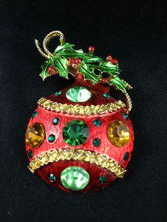Vtg WEISS Red ENAMEL  MULTI-Rhinestone CHRISTMAS ORNAMENT Brooch PIN | eBay