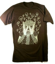 wolf boy screen printed t shirt by musclecity on Etsy, $15.00