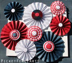 Blue and Red Paper Rosettes Paper Fans Backdrop by PicketFenceArts