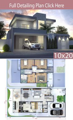 Home Design Plan Meters - Home Design with Plansearch Meet one of our favorite projects, with a modern facade and built-in roof, this house has a garage for two cars, a garden on the social road and 3d House Plans, Model House Plan, House Layout Plans, Dream House Plans, House Layouts, 2 Storey House Design, Bungalow House Design, Small House Design, Modern House Design