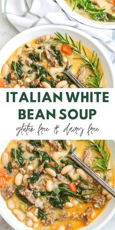 Bean Soup Recipes, Vegetarian Recipes, Cooking Recipes, Healthy Recipes, Free Recipes, Dairy Free Kale Recipes, Dairy Free Italian Recipes, Dairy Free Foods, Dairy Free Dinners