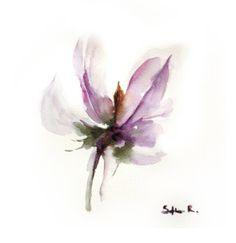 Fine Art Print of Original Watercolor Painting. Abstract Floral Painting. Minimalist Flower. Pastel Purple.