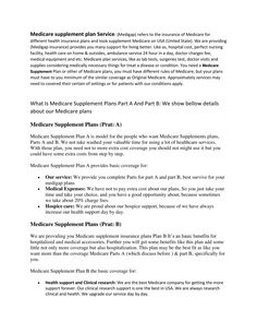 View and download Medicare Supplements Plans.docx on DocDroid