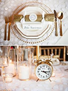 table setting New Year's Eve wedding - have alarms go off at midnight!