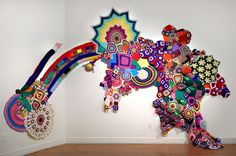 Crochet art. Isn't it just sojoyful andfabulous?  I want to live in Sarah Applebaum's amazingly colourful world! See more of her fantastic installations on her site.