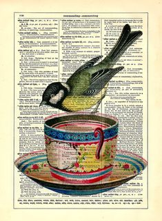 Little Bird On Teacup Repurposed Book Upcycled Dictionary Art Vintage Book Print Recycled Vintage Dictionary Page Buy 2 Get 1 FREE. $6.99, via Etsy.