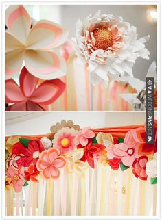 Cool - paper flowers and streamer-adorned alter | CHECK OUT MORE GREAT PINK…