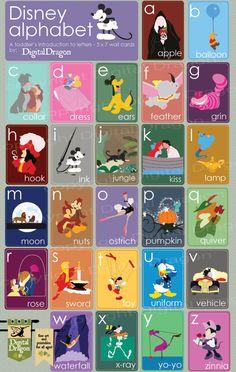 LOVE! Disney Alphabet 5x7 Cards by DigDragon on Etsy, $16.00