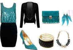 """""""Gotta Be From Out Of Town (in turquoise and black)"""" by frogchickk on Polyvore"""