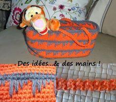 """Des idées...& des mains !: Panier """"Tigrou"""", motifs patte d'oie et lacet roumain"""