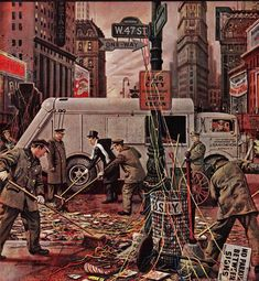 Times Square Cleanup, January 4, 1947 SEP cover illustration. Illustrator-Stevan Dohanos.