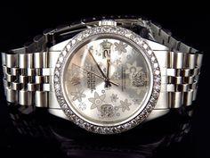Mens Rolex 36 MM Datejust Oyster Flower Stainless Steel Diamond Watch 3.15 Ct #Rolex #Dress