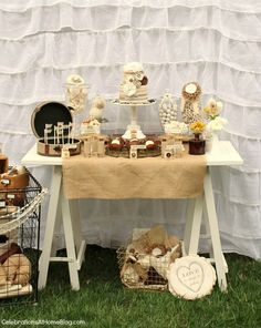 shabby chic dessert table - bridal shower theme  I have yards and yards of burlap leftover from a previous party that we could use in the vintage/country theme