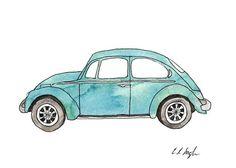 "$15: ""Little Blue Bug"" Fine Art Giclee Print 5x7 by GrowCreativeShop"