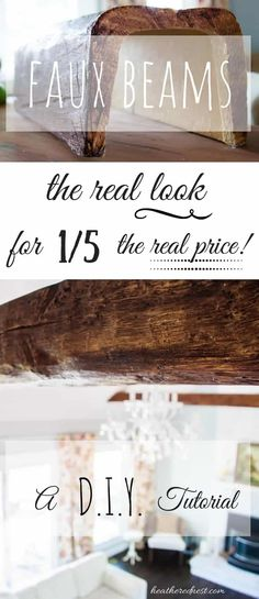Love wood beams, but not the price tag? LOVE the look of beams but don't have the budget? FAUX BEAMS are the answer! the look for a FRACTION of the cost! We'll show you how to use & install them…POP OVER NOW to the Heathered Nest! Do It Yourself Furniture, Do It Yourself Home, Home Design, Interior Design, Diy Design, Design Ideas, Home Renovation, Home Remodeling, Kitchen Remodeling