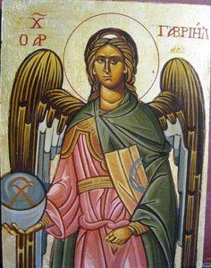 Archangel Gavriil distance: 29x23cm Archangel, Byzantine, Distance, Angels, Painting, Art, Art Background, Angel, Painting Art