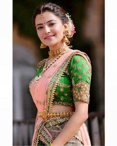 Rukshar Dhillon in half saree Pics Half Saree Lehenga, Bridal Lehenga, Saree Wedding, Wedding Blouses, Lehenga Suit, Lehnga Dress, Red Saree, Anarkali, Half Saree Designs
