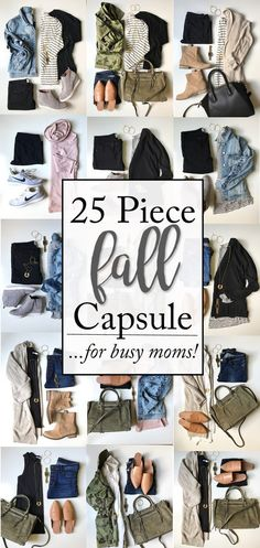 Fall Capsule Wardrobe for busy moms | 25 super functional, comfortable and affordable pieces that make endless Fall outfit combinations!