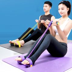 4 colors 4 tubes Resistance Training Bands pedal exerciser pull strap fitness body building crossfit expander training equipment.