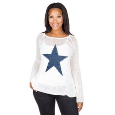 Shop Studio Wooden Ships White Star Print Sweater and other products from the Official Dallas Cowboys Pro Shop! Dallas Cowboys Pro Shop, Dallas Cowboys Women, Wooden Ship, Star Logo, Star Print, Warm And Cozy, Pullover, Stars, Stylish
