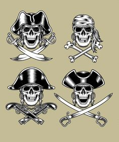 fully editable vector illustration (editable EPS) of pirate skulls, image suitable for emblem, insignia, crest, graphic t-shirt, tattoo or design element, package contains : JPG image 5000x5000 pixels and EPS vector file